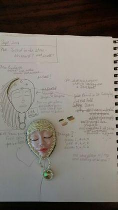 Face pendant with Swarofski Rivoli drop.  September 2014 in progress.