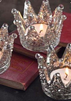 I have 15 of these gorgeous little crowns! Perfect for a little table lighting at engagement party or rehearsal dinner. Also great for wedding centerpeices. Votive Candle Holders, Candle Lanterns, Votive Candles, Glass Votive, Floating Candles, Crown Decor, Cocktail Party Outfit, Quinceanera Decorations, Quinceanera Party Favors