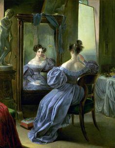 Lady in front of a Mirror. Ferdinand von Lütgendorff-Leinburg, 1834.