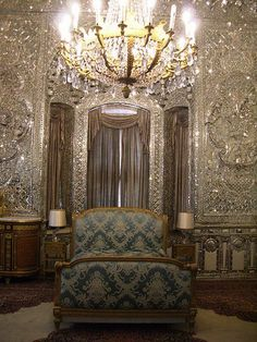 """Royal Bedroom"" by Raffaele Miraglia (Magellano @ flickr.com) (© 2008). Photo of the Palhavi bedroom of the Sa'dabad Palace in Tehran, Iran."
