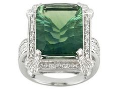 Green Fluorite 12.00ct With White Topaz .19ctw Sterling Silver Ring