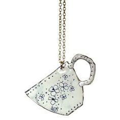 Ceramic teacup necklace by Buddug