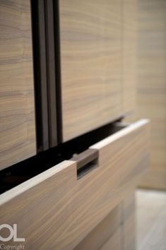 blonde wood and black Furniture Handles, Cabinet Furniture, Furniture Design, Cabinet Handles, Door Handles, Joinery Details, Wardrobe Design, Storage Design, Architectural Elements