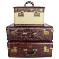 Set Of 3 Vintage Leather Suitcases Leather Suitcase, Leather Luggage, Leather Case, Vintage Suitcases, Vintage Luggage, Vintage Trunks, Small Case, Thick Leather, Vintage Louis Vuitton