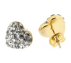 Edforce Stainless Steel Gold Plated Heart Stud Earring with Clear Stones - Corazon Brillante
