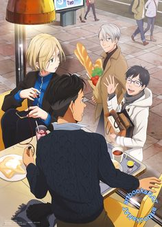 Yuuri and Victor spot Yurio and Otabek on a restaurant date in this cozy poster from Spoon.2Di Vol. 23 (Amazon Japan | eBay), illustrated by key animator Rie Maehara (前原里恵).