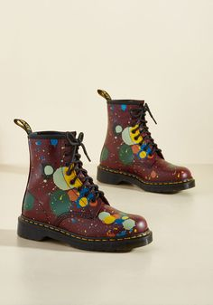 March Through Manhattan Leather Boot in Splatter by Dr. Martens - Red, Multi, Other Print, Casual, Statement, Winter, Exceptional, Lace Up, Ankle, Multi, Saturated, Unique Gifts, Low