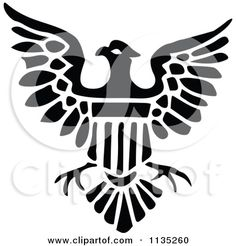 Clipart Of A Retro Vintage Black And White Shield Eagle Icon - Royalty Free Vector Illustration by Prawny Vintage