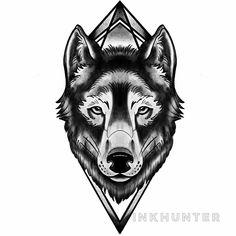 Design by Blackwork by DžeiDy, Geometric Wolf Tattoo, Blackwork, Lion Sculpture, Ink, Statue, Tattoos, Design, Tatuajes, Tattoo