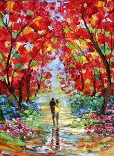 Original oil painting Romance Landscape on canvas impressionistic palette knife fine art by Karen Tarlton