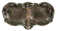 Maiden and Lily Double Tray - Cold Cast Resin - 13'' Length