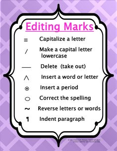 """FREE """"Writers' Workshop Editing Marks Poster"""""""