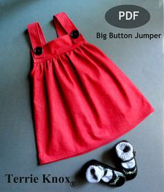 Big Button Jumper 1-8 Years A big button jumper is a great addition to any little girls wardrobe. Can dressed up with a cute pair of patent shoes or a pair of country wellies... The tutorial includes tons of step by step photos and instructions, NO button holes required. This is a knee height jumper, but with our easy pattern guide it can easily lenghten or shorten. Computer printed pattern and tutorial Adobe Reader required and a home printer Included in this purchase is the PDF tutorial…