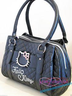 9d6fc2355b Hello Kitty black leather-like tote bag purse Hello Kitty Handbags