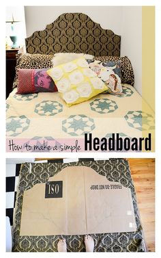 Making this for my new bed: a queen sized air mattress! :) DIY Cardboard and Fabric Headboard from Stars for Streetlights here.Extremely simple headboard made of cardboard and fabric - no power tools were used. I've been following Stacie's move to NYC and her easy to do projects for renters. *I had to include a before photo because the final result is so pretty.