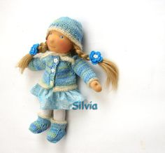 organic waldorf Doll Silvia with natural yak hair, gift for mom and dother.  Beautiful Quality