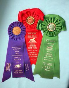 Vintage Dog Show Award Rosette Ribbons [mitziscollectibles] Ribbon Rosettes, Ribbons, Green Ribbon, Vintage Dog, Dog Show, Beagle, Awards, Dog Park, Dog Stuff