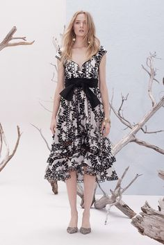 Black and White Dress with a Heart Shaped Neckline and Ruffled Skirt Bottom by Zimmermann, Look #22