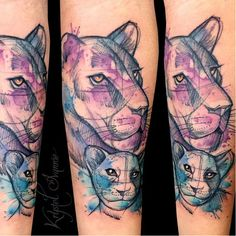 Mother and cub tattoo by Krystel Ivannie #lioness #lion #KrystelIvannie #cub…