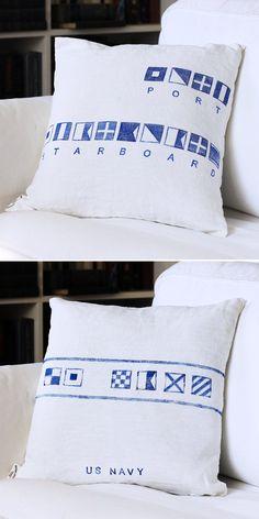 semaphore flags on cushion Nautical Signs, Nautical Flags, Nautical Pillows, Nautical Style, Nautical Fashion, Coastal Homes, Coastal Decor, Design Your Home, House Design