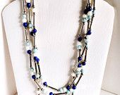 Blue and white vintage necklace by Mona So, lapis, white marble, and pale blue jasper gemstone necklace with silver tube beads 1970s vintage