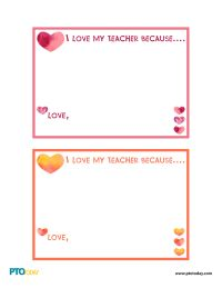 """I Love My Teacher Because..."" Cards for Teacher Appreciation - PTO Today"