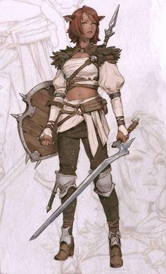 warrior, fantasy, rpg, character, sword and shield Character Design Cartoon, Fantasy Character Design, Character Creation, Character Design References, Character Design Inspiration, Character Concept, Character Art, Concept Art, Dnd Characters