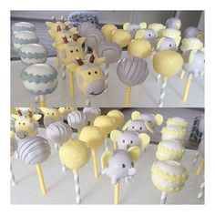 Baby Shower Cupcakes- Gray and Yellow with baby elephants and giraffes