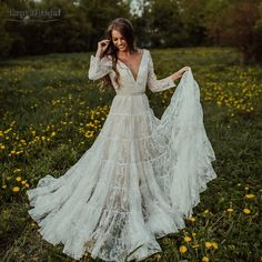 Long Sleeve Lace Wedding Dresses V-Neck Champagne lining Bridal Gowns Princess Boho Noivas How To Dress For A Wedding, Wedding Dress Train, Rustic Wedding Dresses, Long Wedding Dresses, Wedding Dress Sleeves, Boho Wedding Dress, Cheap Wedding Dress, Wedding Dress Styles, Bridal Dresses