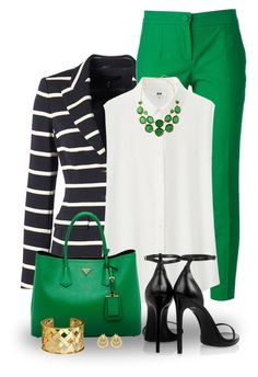 """""""Black and Green"""" by snickersmother ❤ liked on Polyvore featuring ESCADA, Dolce&Gabbana, RGB, Uniqlo, Prada, Yves Saint Laurent, Verdura and Lord & Taylor"""