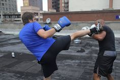 Muay Thai Kickboxing on the rooftop at Envision!