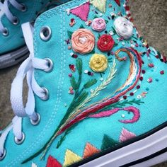 Rainbow Skittles Hand Embroidered Hi top Converse sneakers Hand Embroidery Designs, Embroidery Art, Embroidery Sneakers, Cloud Craft, Converse Style, Painted Shoes, Diy Fashion, Fashion Shoes, Cute Shoes