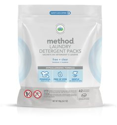 method laundry detergent packs in free + clear fight tough stains with naturally derived cleaners, not harsh bleach or toxic ingredients. Method Laundry Detergent, Method Homes, Cleaning Cupboard, Washer, Cleaning Hacks, Cleaning Products, Sensitive Skin, Bleach, Fragrance