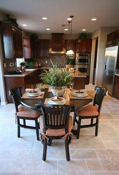 Floor Tile with Dark Cherry Kitchen Cabinets
