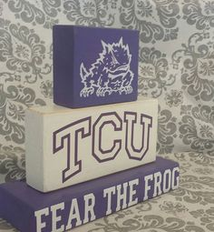 TCU Horned Frog Blocks. Trio Set of Purple by Rustic Ramblings $20
