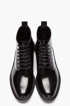 SAINT LAURENT Black patent Army 29 Boot