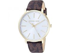 Features: Gold Tone Stainless Steel Case Leather Strap Quartz Movement Mineral Crystal Caliber: White Dial Analog Display Diamond Accents Pull/Push Crown Solid Case Back Buckle Clasp Water Resistance Approximate Case Diameter: Approximate Case Thickness: Stainless Steel Case, Michael Kors Watch, Fashion Brand, Quartz, Watches, Crown, Display, Bracelet, Gold