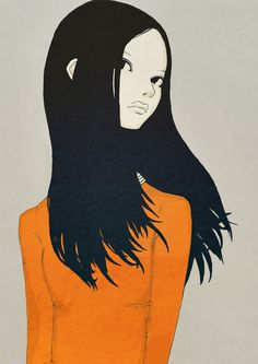 girl with black hair and orange sweater