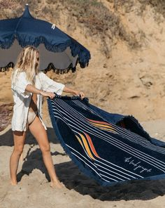 Name a better duo! Our perfectly matching Starboard roundie & navy beach umbrella The Beach People, We The People, Velour Tops, Photoshoot Concept, Best Duos, Nautical Stripes, Beach Umbrella, Beach Accessories, Us Beaches