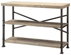 Metal to look like rod iron, combined with reclaimed wood shelving makes for an industrial and rustic storage piece for your home.