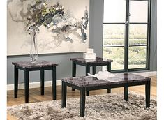 With a rich polyurethane-coated print marble tabletop supported by deep black…