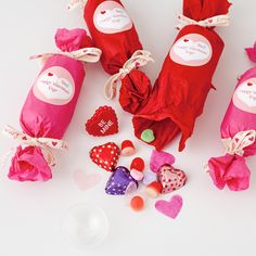 These pretty poppers are so easy to make for Valentine's Day. Just grab any kind of tube. (These were made with plastic push pop containers, but you could use an empty toilet paper or paper towel roll.) Fill with treats, wrap with tissue and finish off with a sweet personalized tag using Avery Round Labels (22807) and their free Valentine's printables.
