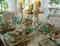 These dishes are delicious, and the color scheme of a sea glass blue-green, white and cream, touch of sand, is so delicate and feminine.