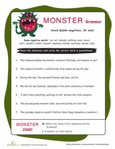 Don't let grammar get scary! Help your child choose the correct word to avoid double negatives with this fun monster-themed worksheet. Writing Classes, Teaching Writing, Student Teaching, Teaching Tips, Grammar Lessons, Grammar Worksheets, Free Printable Worksheets, Double Negative, Negative Words