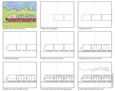 How to Make a Simple Train Drawing · Art Projects for Kids. Most simple train drawing tutorials for kids focus on the old-fashioned version. There are a lot of modern options though too. Drawing Tutorials For Kids, Art Drawings For Kids, Drawing For Kids, Easy Drawings, Projects For Kids, Diy For Kids, Art Projects, Train Drawing, Directed Drawing