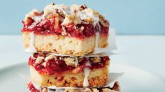 Cherry Pie Bars - August 2016 Recipes - Southern Living - Recipe: Cherry Pie Bars  This classic cherry dessert is sweet as pie. A couple of cans of cherry pie filling are transformed into a crowd-pleasing treat. Make and store these bars, wrapped in aluminum foil, for up to three days. These dessert bars are the perfect treat to bring along to any summer picnic or party.