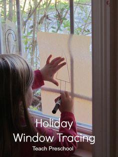 Holiday Window Tracing by Teach Preschool