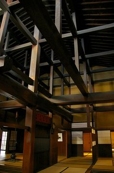 Wooden structure of Yoshijima House (built 1907), Takayama, Gifu, Japan