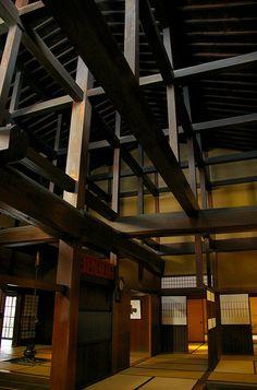 Wooden structure of Yoshijima House (built 1907), Takayama, Gifu, Japan