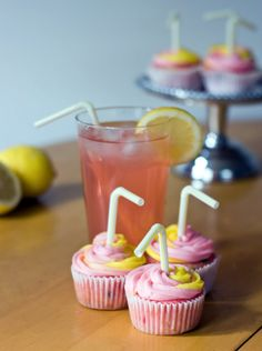 pink lemonade + pink lemonade cupcakes